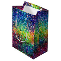 Cool Multicolor Retro Glitter & Sparkles Pattern 2 Medium Gift Bag