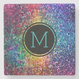 Cool Multicolor Retro Glitter & Sparkles Pattern 2 Stone Coaster