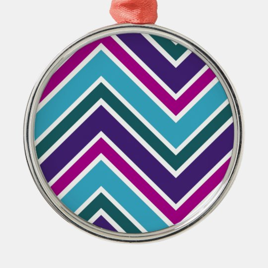 Cool Multicolored Zigzagging Chevron Pattern Metal Ornament