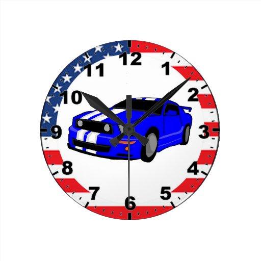 Cool Muscle Car Design Wall Clocks Zazzle