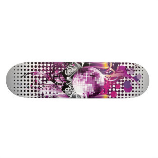 Cool Music Disco Ball and Speakers Skateboard Deck