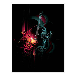 Cool Music Graphic with Guitar Post Card
