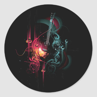Cool Music Graphic with Guitar Round Sticker
