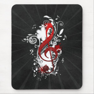 Cool Music notes dotted swirls flowers splatter Mouse Pad