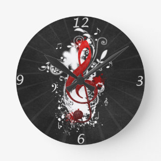 Cool Music notes dotted swirls flowers splatter Round Clock