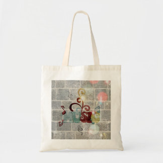 Cool music notes word on brick grey wall light canvas bags