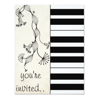 cool music piano play party 4.25x5.5 paper invitation card