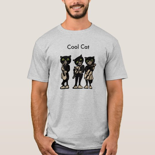 Cool Musician Black Vintage Cats T-Shirt
