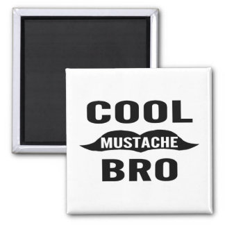 Cool Mustache Bro 2 Inch Square Magnet