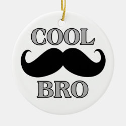 Circle Ornament with Cool Mustache Bro design
