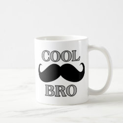 Classic White Mug with Cool Mustache Bro design