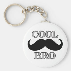 Basic Button Keychain with Cool Mustache Bro design