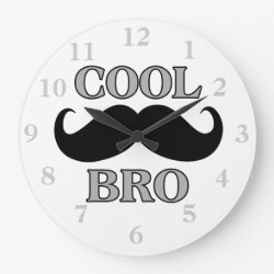 Large Round Wall Clock with Cool Mustache Bro design