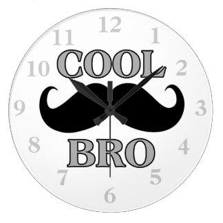 Cool Mustache Bro Large Clock