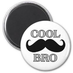 Round Magnet with Cool Mustache Bro design