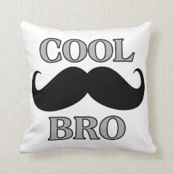 Cotton Throw Pillow with Cool Mustache Bro design