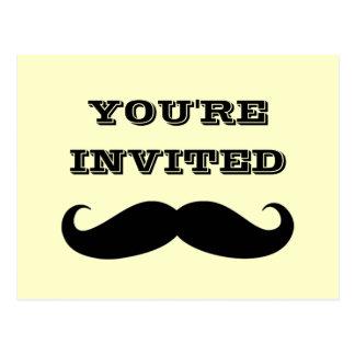Cool Mustache Party Invitation Postcard