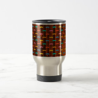 Cool mustaches colorful fun pattern travel mug