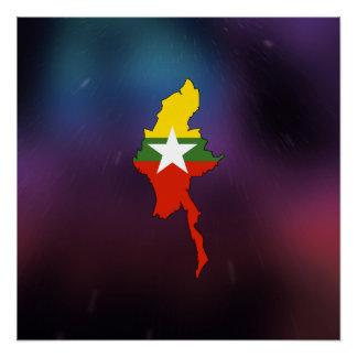 Cool myanmar Flag Map Poster