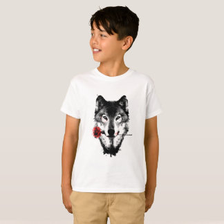 Cool Mysterious Wolf With His Romantic Rose T-Shirt