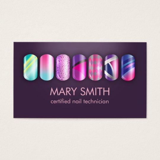 Cool Nail Tech Manicurist Business Card Template