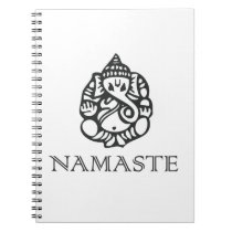 Cool Namaste Ganesh Design B/W Notebook