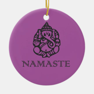 Cool Namaste Ganesh Design Purple Double-Sided Ceramic Round Christmas Ornament
