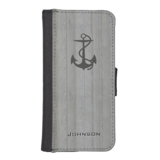 Cool Nautical Anchor Logo on Wood with Custom Text iPhone 5 Wallet Case