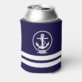 Cool Nautical Anchor Pattern Can Cooler