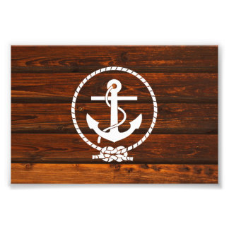Cool Nautical Anchor rope antique wood grunge Photo