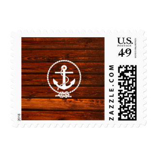 Cool Nautical Anchor rope antique wood grunge Postage Stamp
