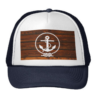 Cool Nautical Anchor & rope wood grunge effects Hats