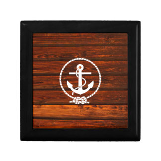 Cool Nautical Anchor & rope wood grunge effects Jewelry Box