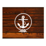 Cool Nautical Anchor & rope wood grunge effects Postcard