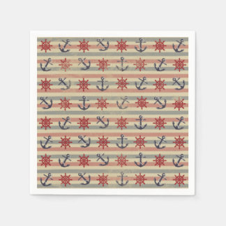 Cool nautical anchors and boat steering wheels paper napkin