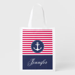 Cool Nautical Red Navy Anchor Customized Name Reusable Grocery Bag