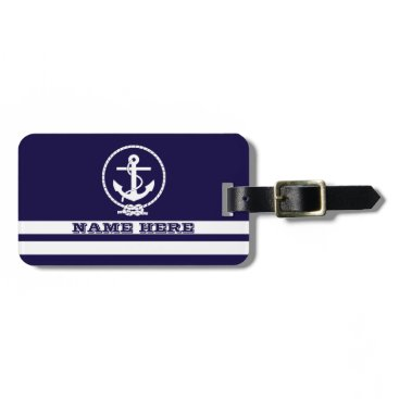 Cool Nautical Stripes and Anchor Monogram Bag Tag