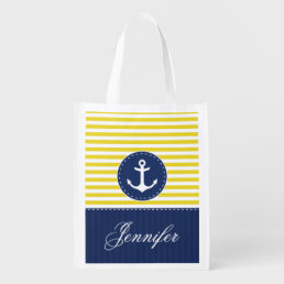 Cool Nautical Yellow Navy Anchor Customized Name Grocery Bag