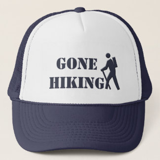 cool navy and white gone hiking sports hat. trucker hat