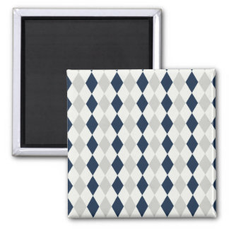 Cool Navy Blue and Gray Argyle Diamond Pattern 2 Inch Square Magnet