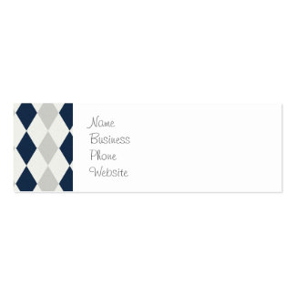 Cool Navy Blue and Gray Argyle Diamond Pattern Double-Sided Mini Business Cards (Pack Of 20)