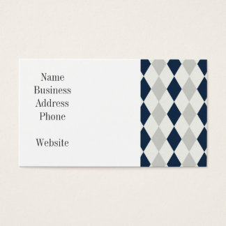 Cool Navy Blue and Gray Argyle Diamond Pattern Business Card