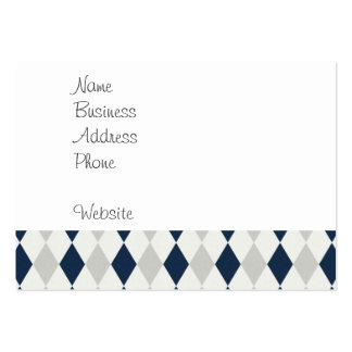 Cool Navy Blue and Gray Argyle Diamond Pattern Large Business Cards (Pack Of 100)