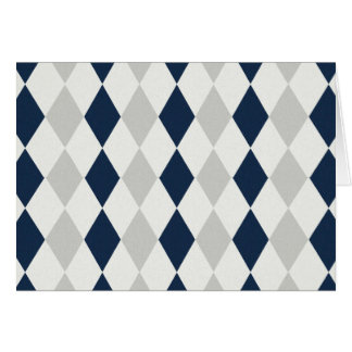 Cool Navy Blue and Gray Argyle Diamond Pattern Card