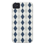 Cool Navy Blue and Gray Argyle Diamond Pattern iPhone 4 Case-Mate Case