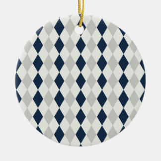 Cool Navy Blue and Gray Argyle Diamond Pattern Ceramic Ornament