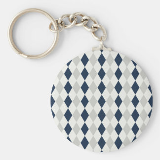 Cool Navy Blue and Gray Argyle Diamond Pattern Keychain