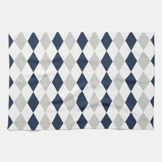 Cool Navy Blue and Gray Argyle Diamond Pattern Towel