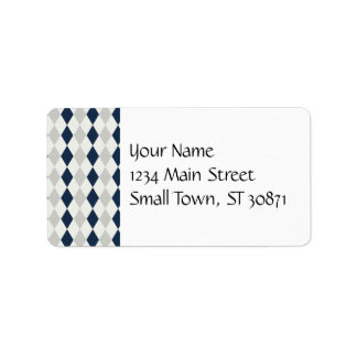 Cool Navy Blue and Gray Argyle Diamond Pattern Label