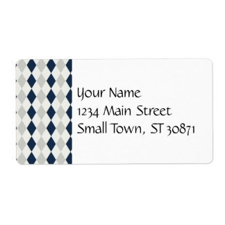 Cool Navy Blue and Gray Argyle Diamond Pattern Shipping Label